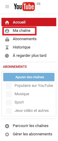 créer une chaine youtube