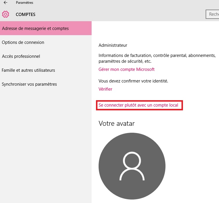 configurer windows 10