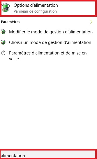mise en veille windows 10