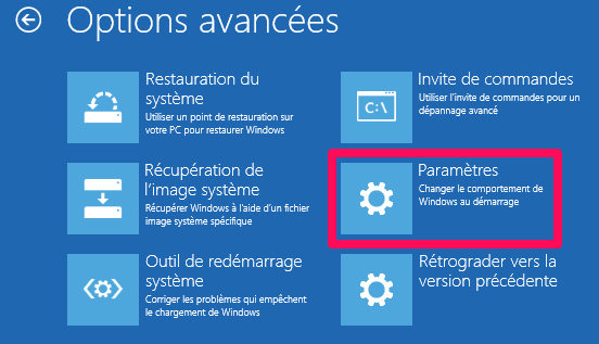 Options avancées windows 10