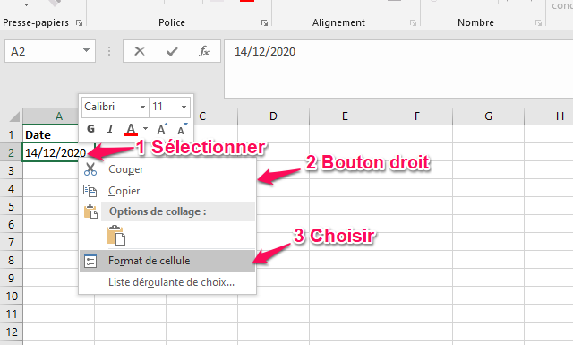 date excel